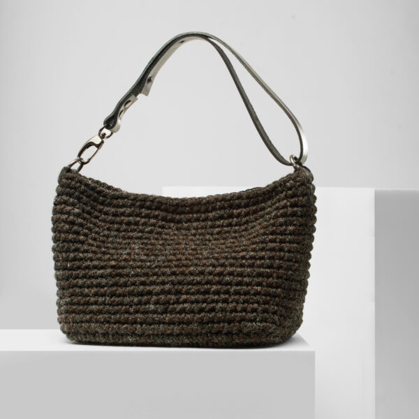 Mini handmade crochet hobo bag in wool