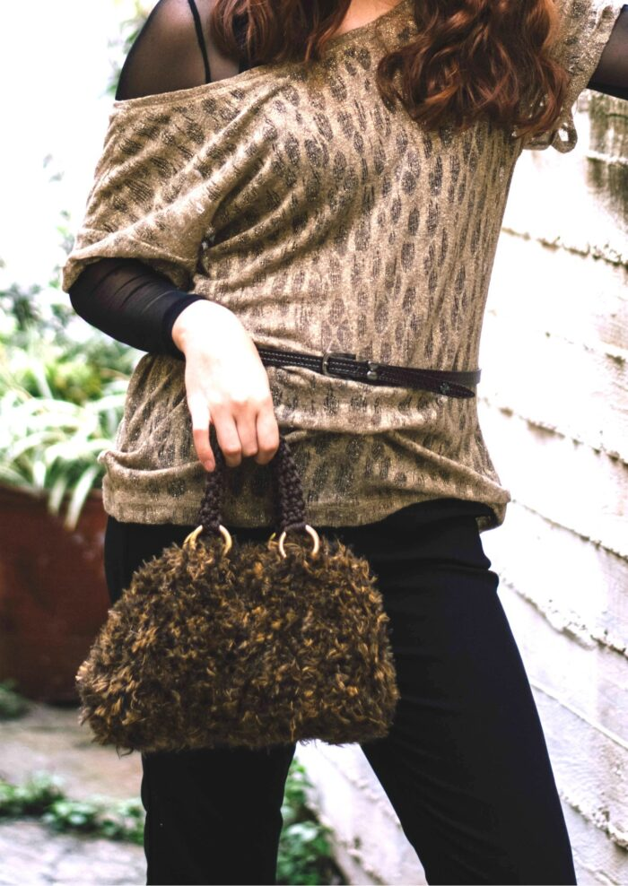 Faux fur handle / shoulder bag