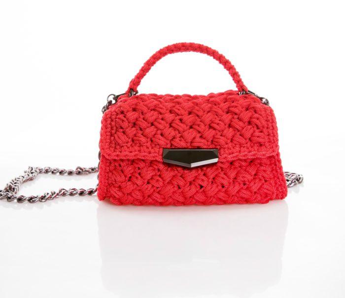 red handmade crochet flapbag