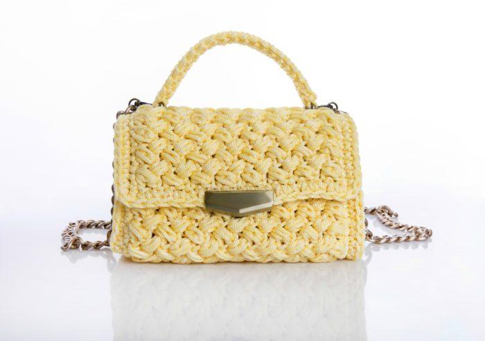 yellow handmade crochet flapbag