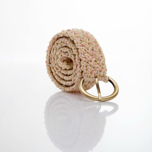 crocher belt in yellow and pink coral color yarn with bronze buckle