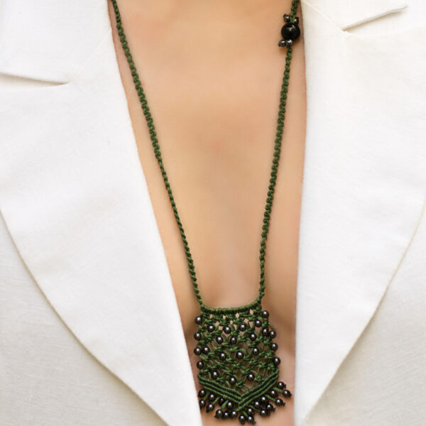 Boho macrame pendant in olive green threads and hematite beads