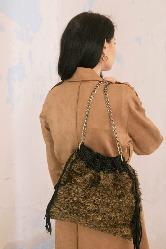 faux fur medium pouch bag