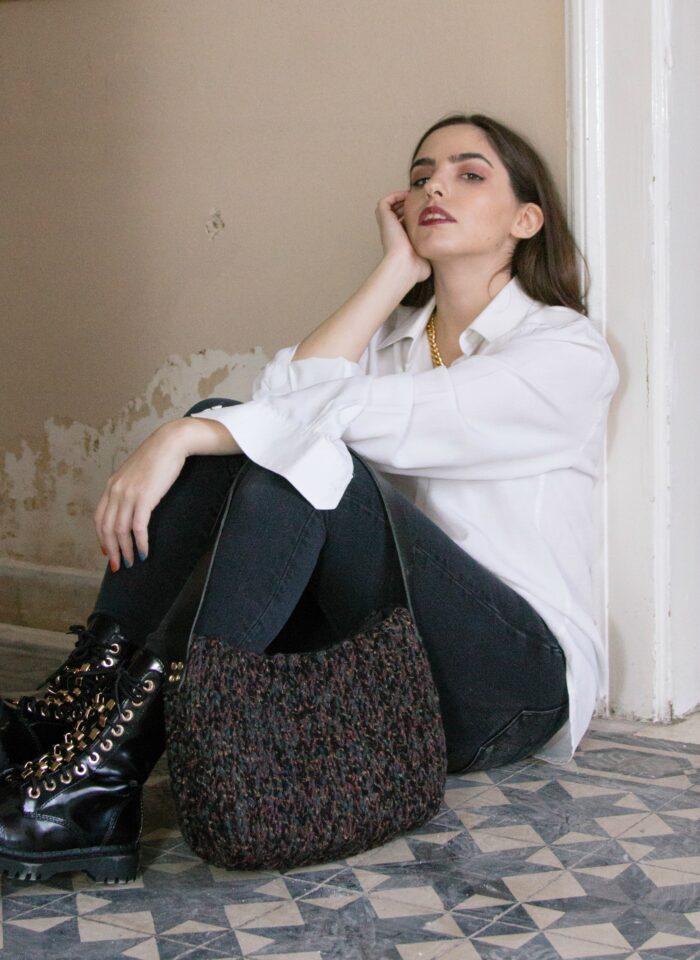 wool crochet tote bag
