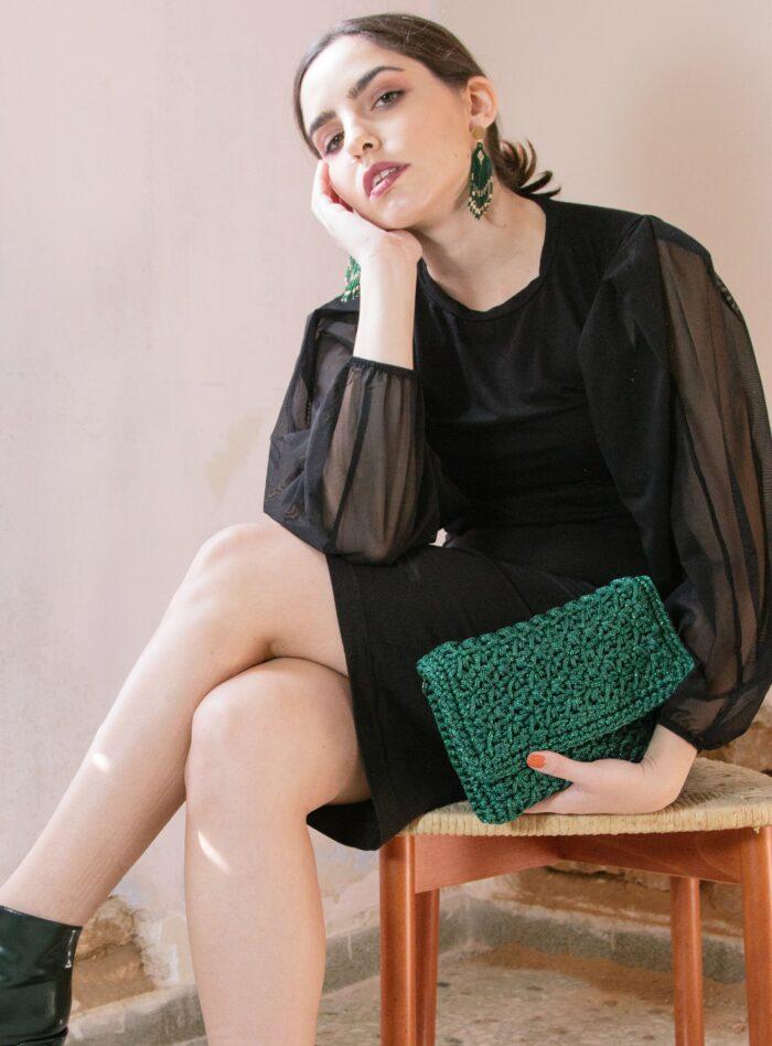 crochet clutch bag in green
