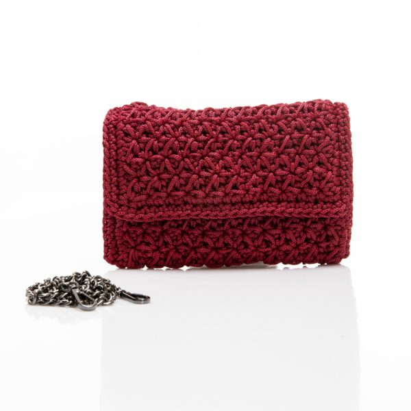 deep red handmade clutch crochet bag