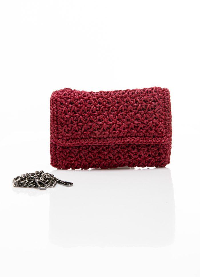 deep red handmade clutch crochet bag