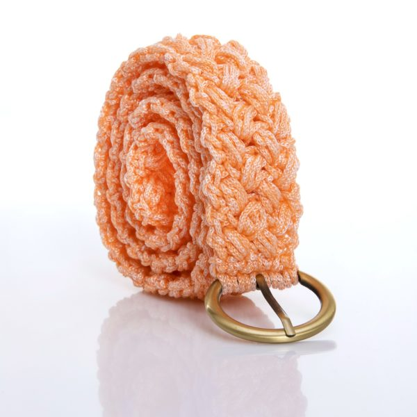 crocher belt in pink coral color yarn with bronze buckle