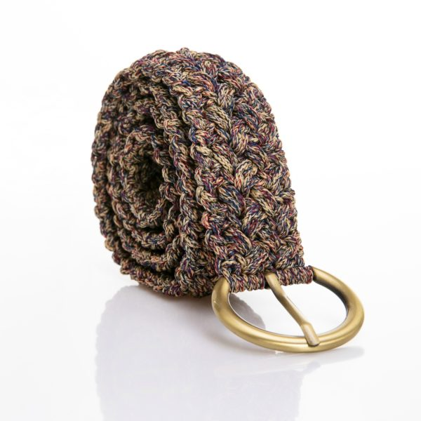 crocher belt in multi color yarn with bronze bangle
