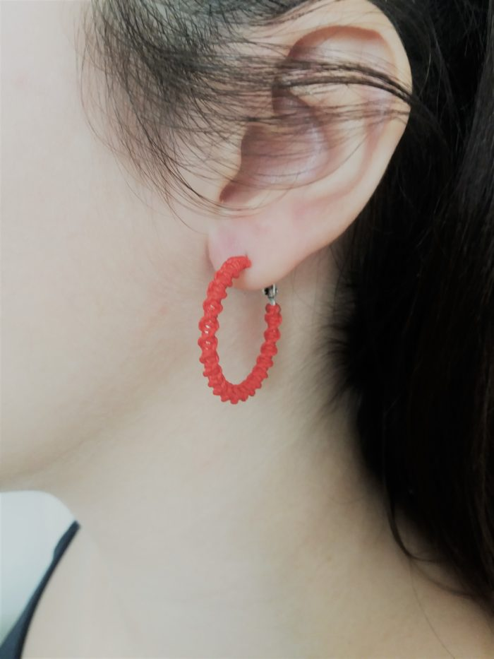 red mini macrame hoop earrings