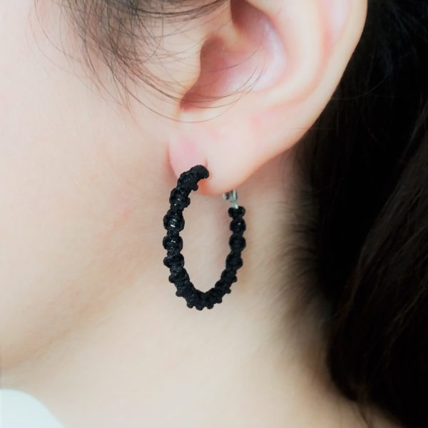 black mini macrame hoop earrings