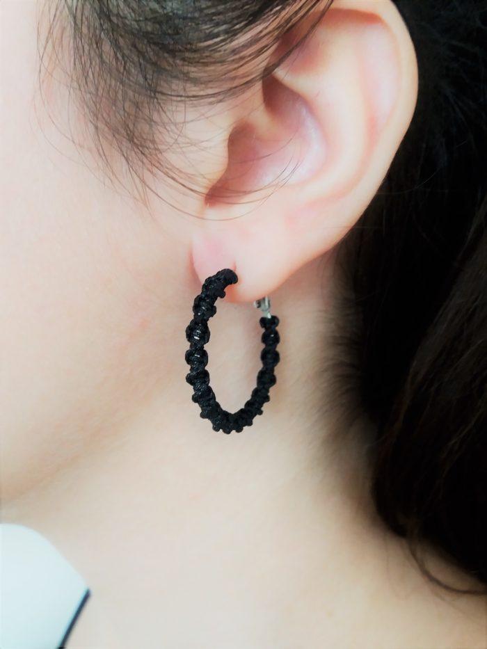 black mini macrame hoop earrings