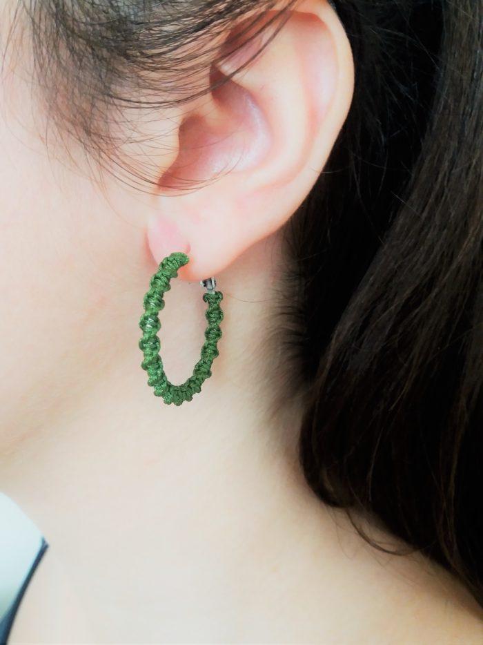 green mini macrame hoop earrings