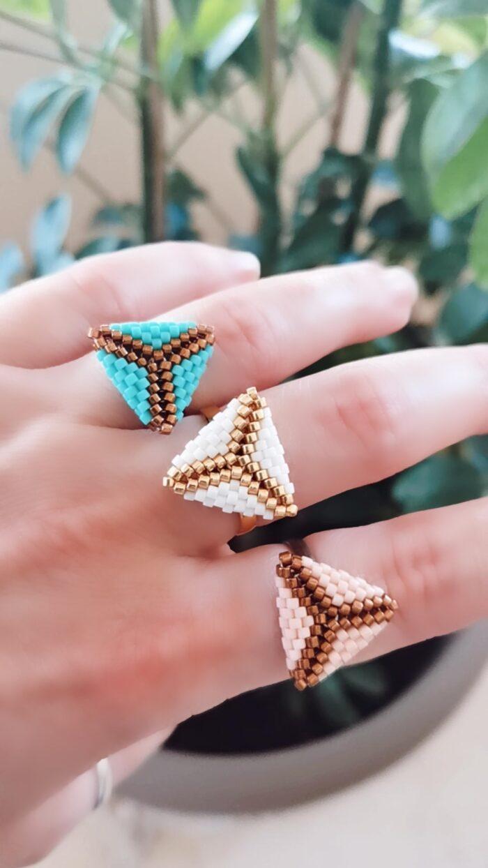 beaded triangle rings