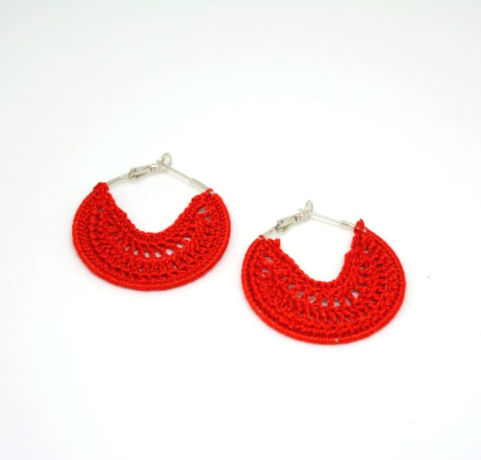 red disk earrings