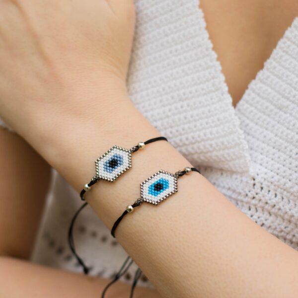 Handmade beadweaved evil eye bracelet