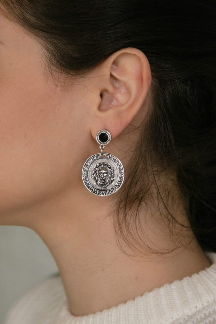 silver lion earrings
