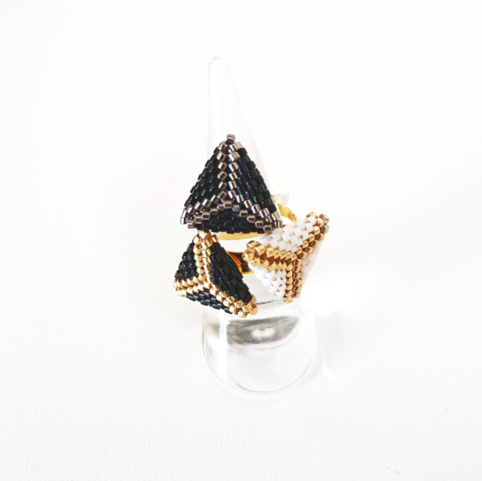 black and white triangle beaded rings