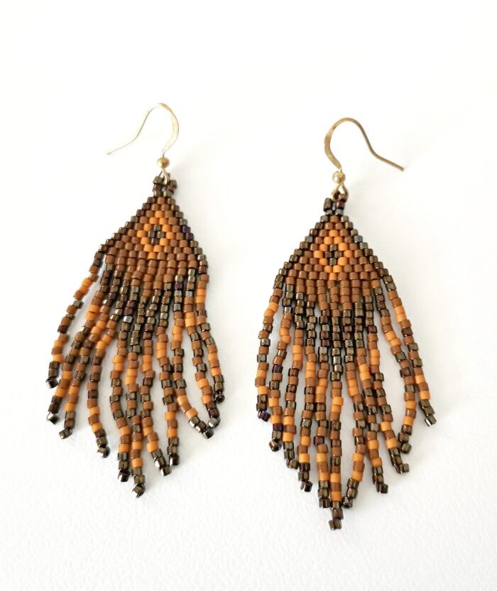 brown beaded earrings with fringes