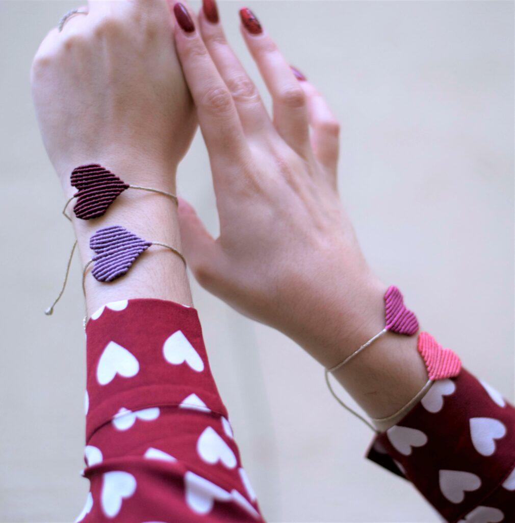 handmade macrame hearts bracelets