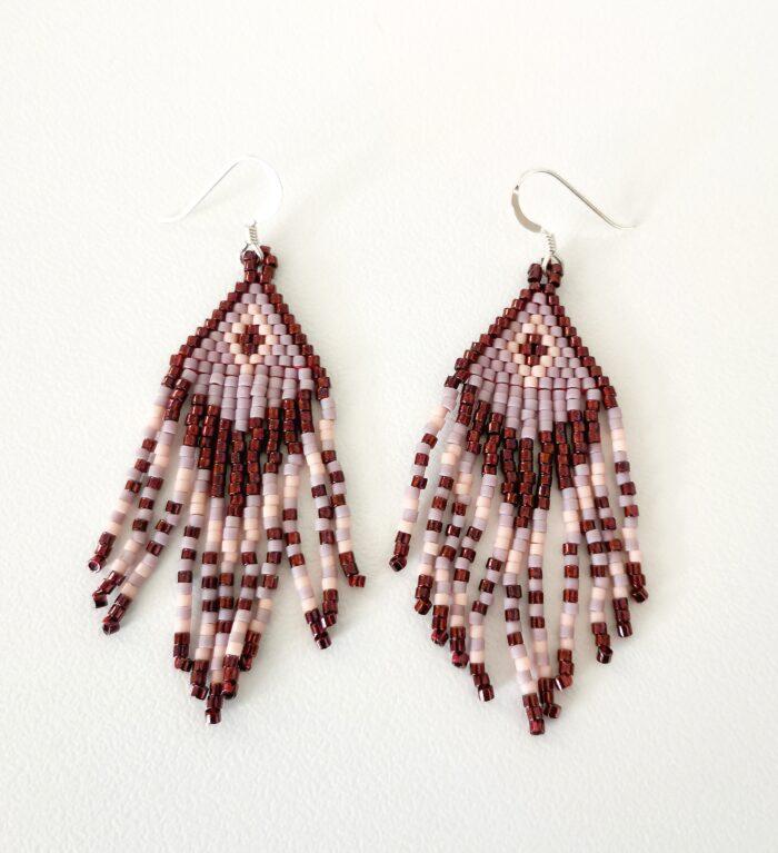 purple boho fringed earrings