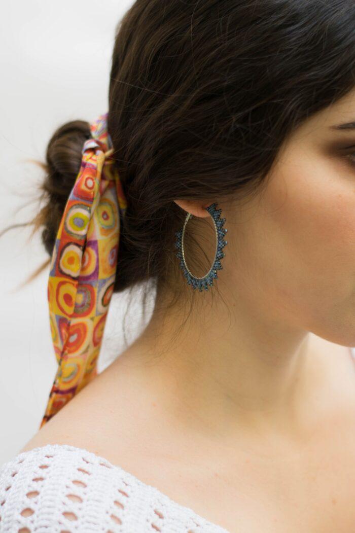 handmade beaded earrings in silver and blue