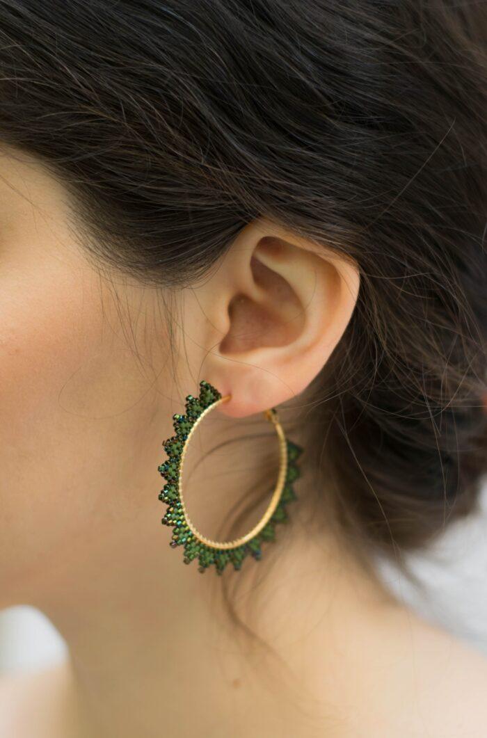 handmade beaded earrings in gold and green