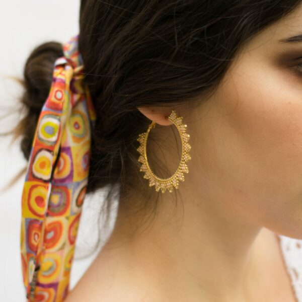 handmade beaded earrings in gold and pink