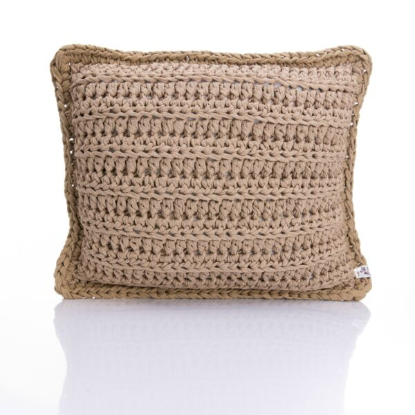Medium Square crochet pillow beige