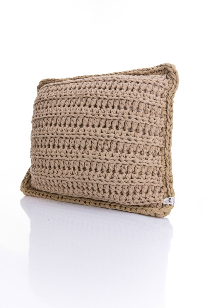 Medium Crochet pillow in beige