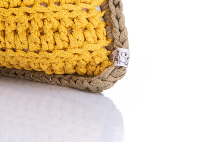 Medium crochet pillow yellow
