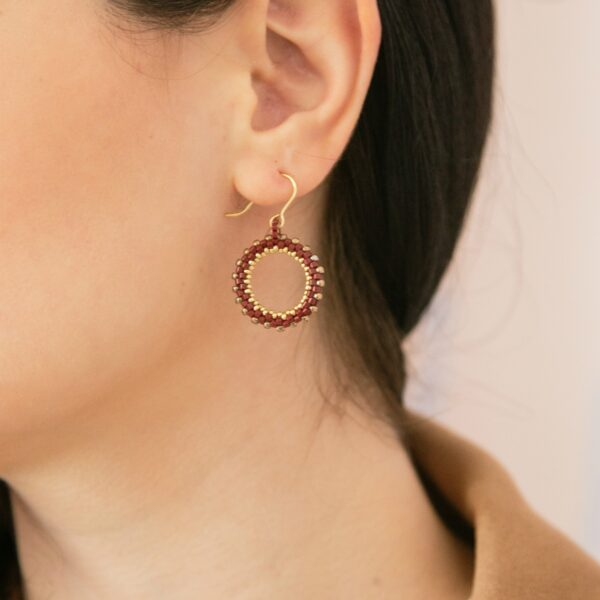 Mini beaded earring hoops in dark red