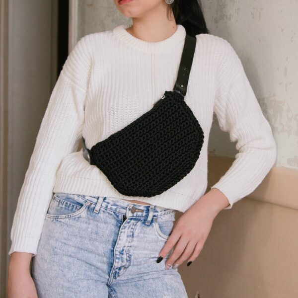 Waist Bag / crossbody bag with leather strap