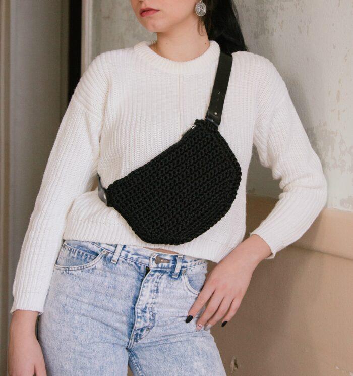 Waist Bag / crossbody bag with leather strap