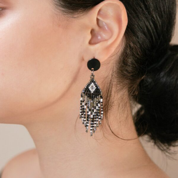 miyuki beaded earrings with fringes