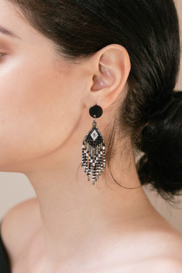 miyuki beaded earrings with fringes
