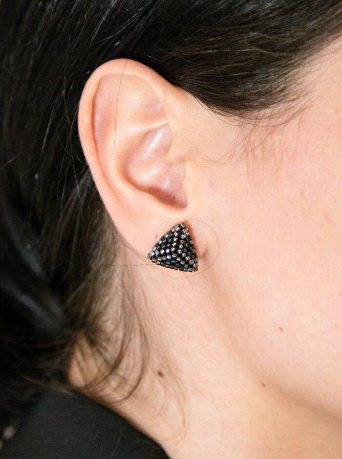 black stud beaded earrings