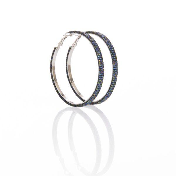 metallic blue beaded hoops