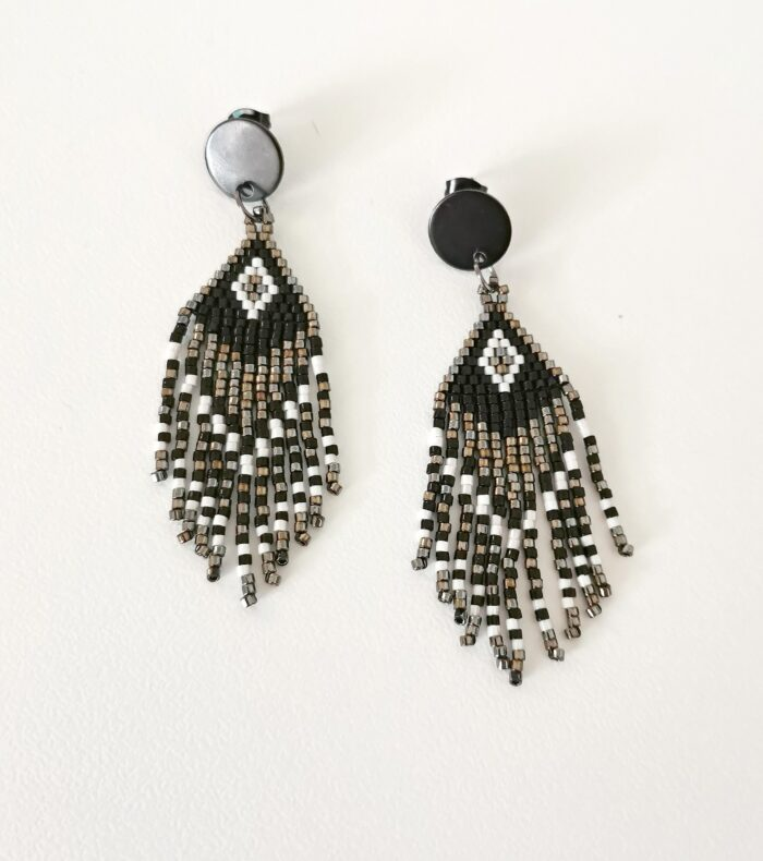 black beaded fringed earrings