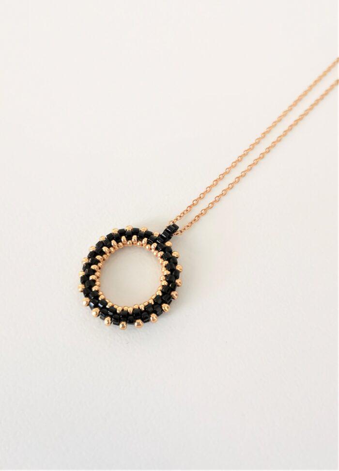 mini beaded hoop pendant in black