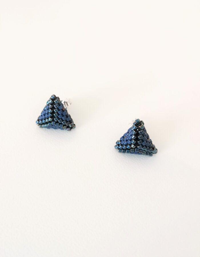 blue beaded stud earrings