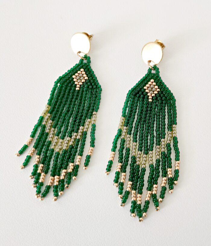 green beaded fringed earrings