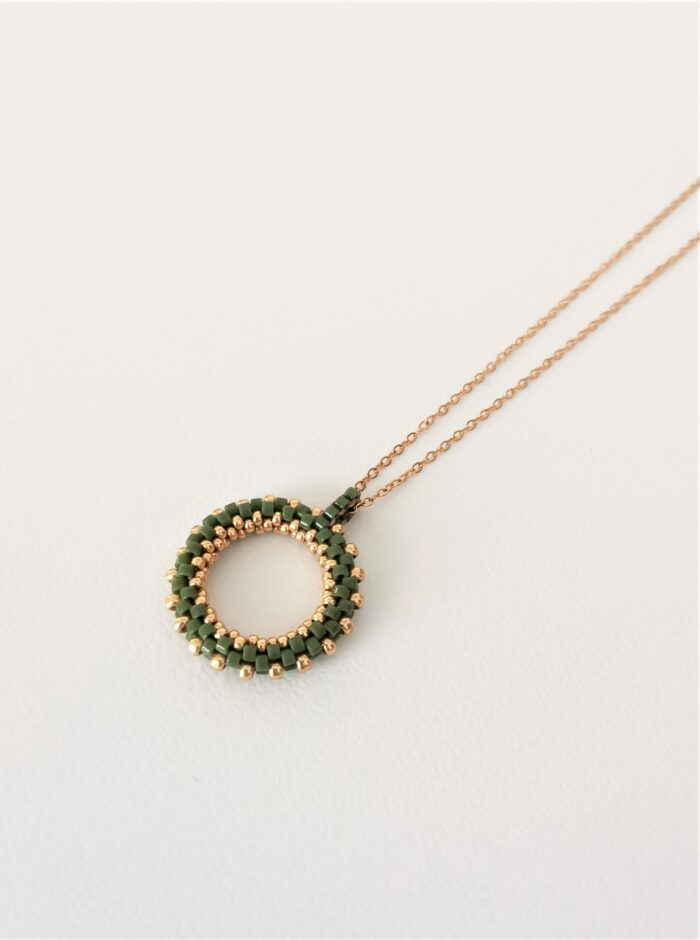 green beaded hoop pendant