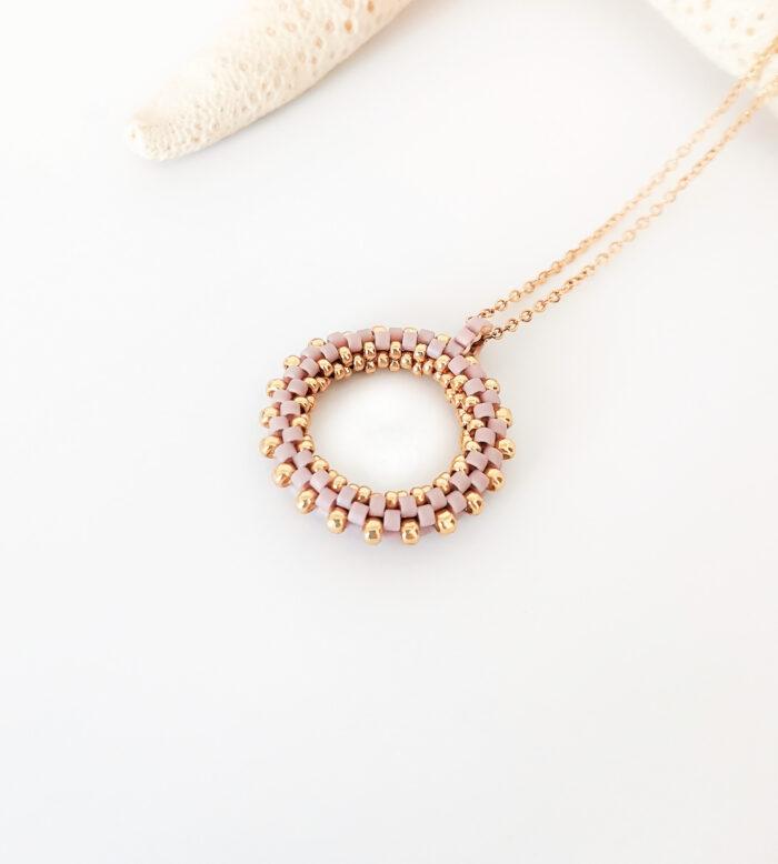 lilac beaded hoop pendant