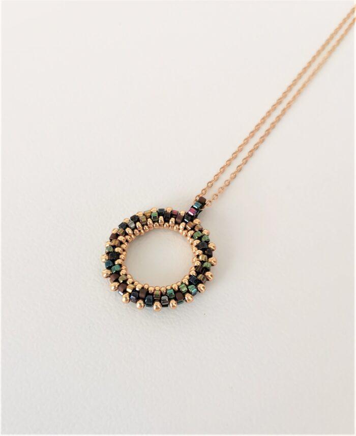 multi mini beaded hoop pendant