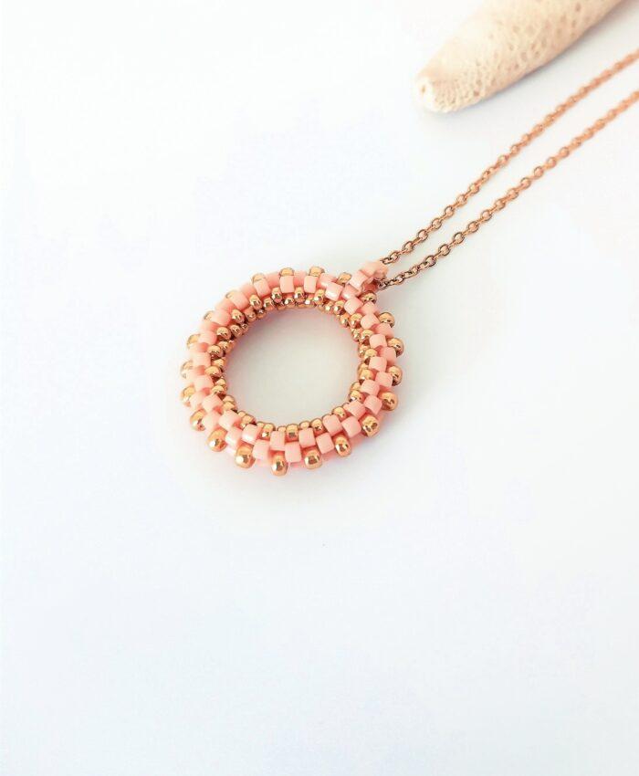 pink beaded hoop pendant