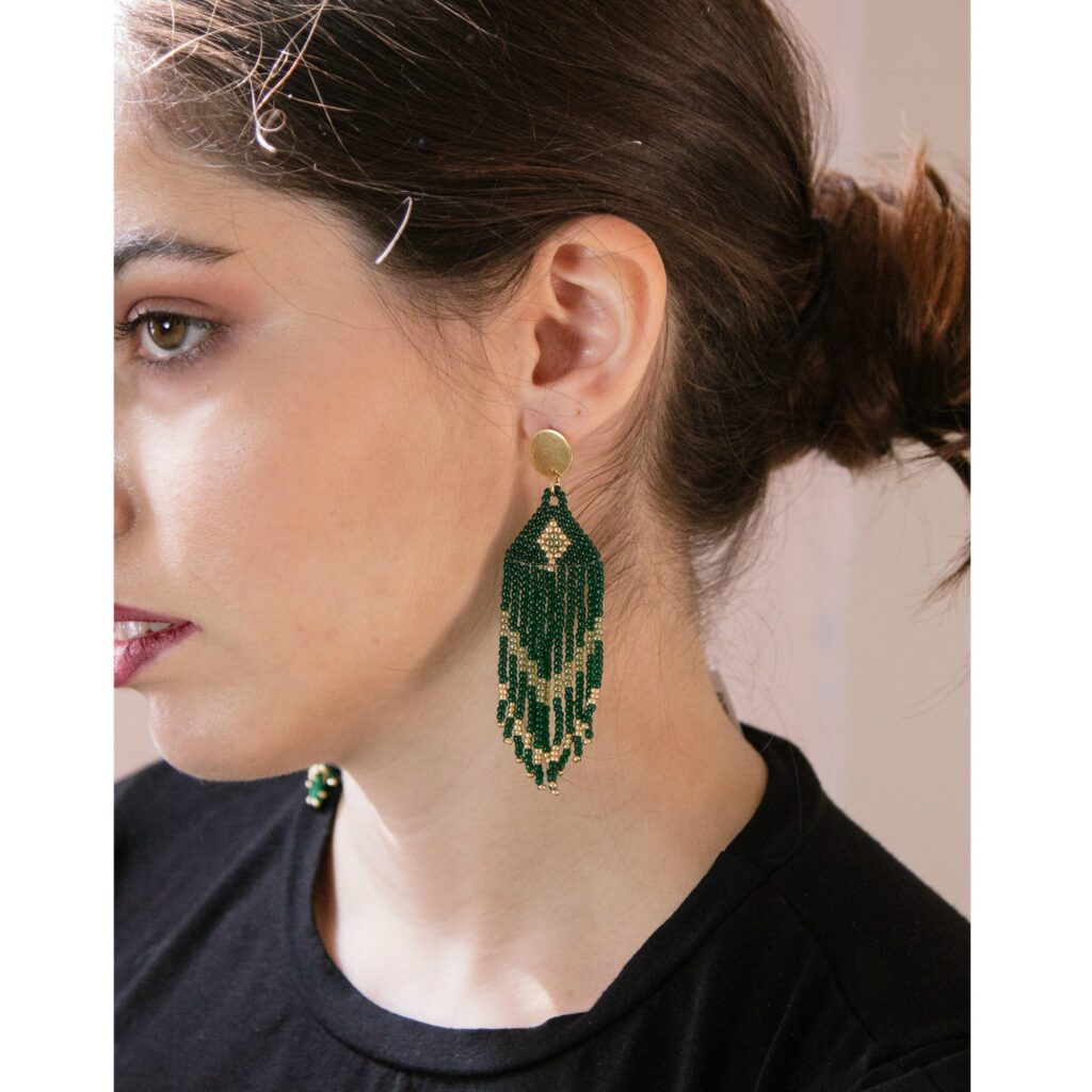 green beaded fringed earrings