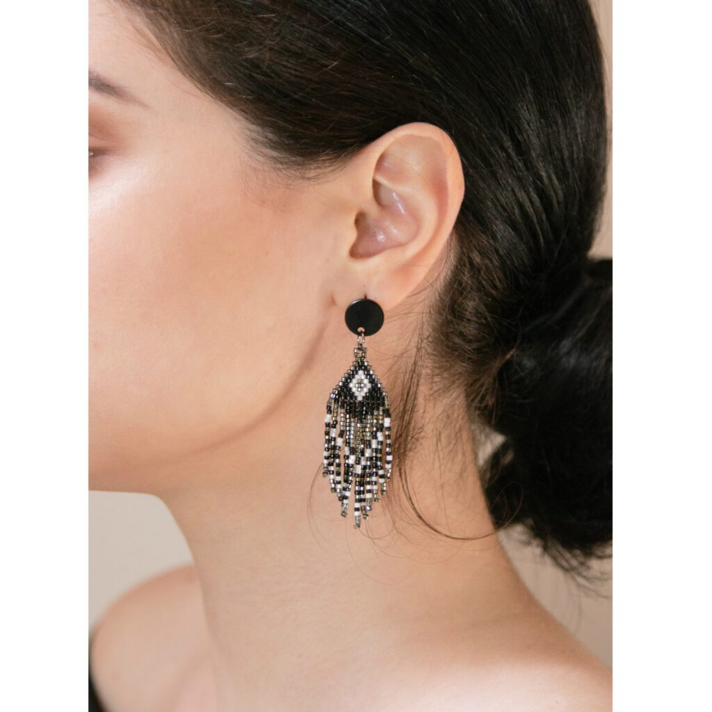 black beaded fringed earrings
