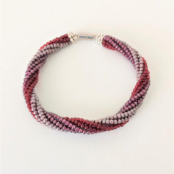 Beaded purple-red bracelet