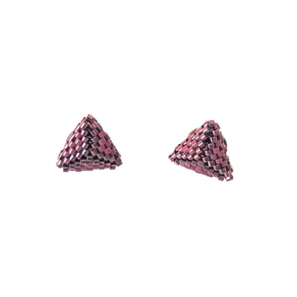 Wine red triangle beaded stud earrings